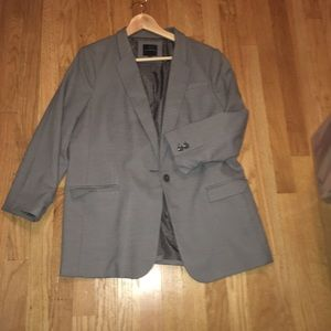 Oversized Textured Madison Blazer Grey